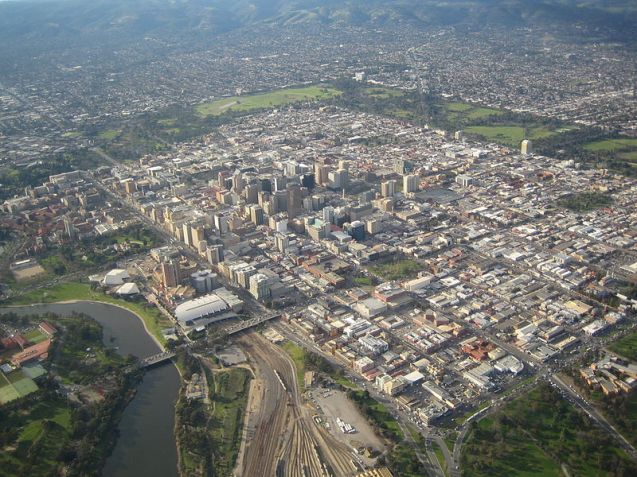 Aerial view of Adelaide city
