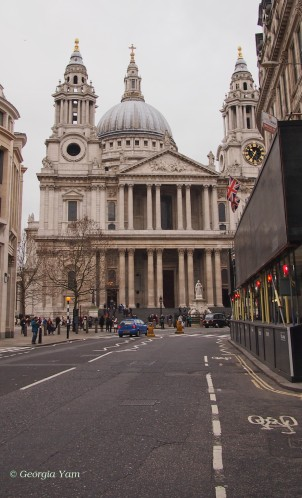 The road to St Paul's Cathedral, London UK