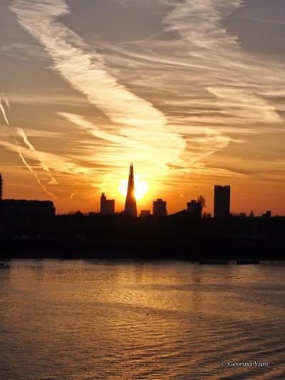 Sunset behind the Shard