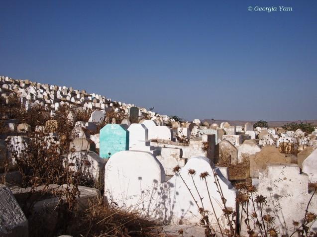 one blue gravestone