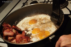cooking bacon & eggs