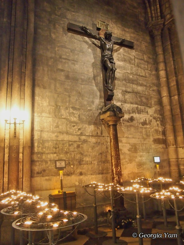 crucifix and candles
