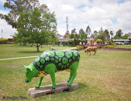 green cow moooving art