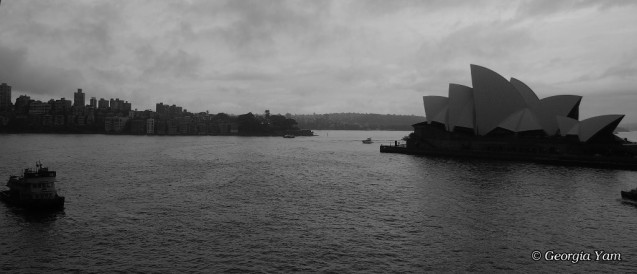 sydney opera house black & white clouds