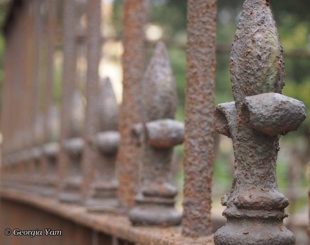 rusted fence texture