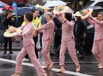 pink ladies dancing parade