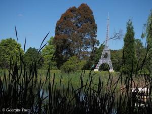 reclining Eiffel Tower gardens
