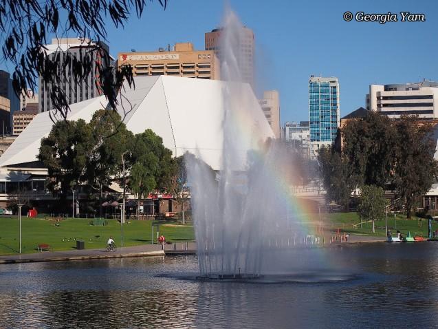 Adelaide fountain rainbow