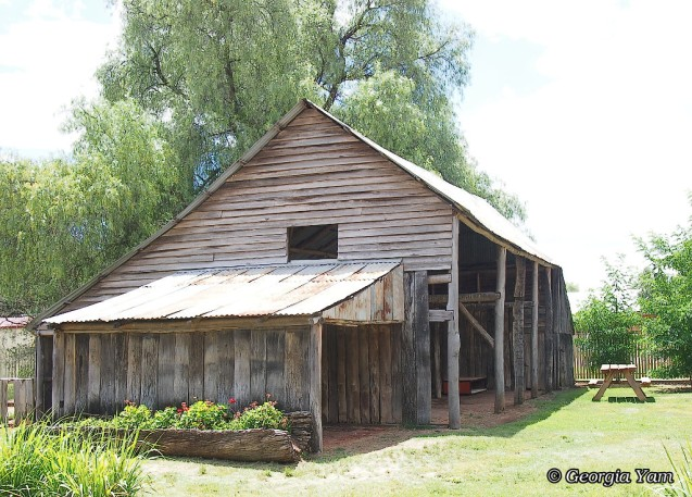 old weathered wood barn