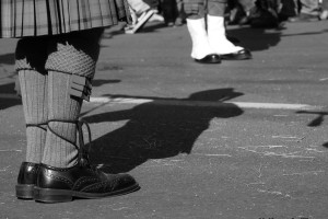bagpipers shadow on the ground