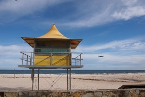 beach hut and aeroplane