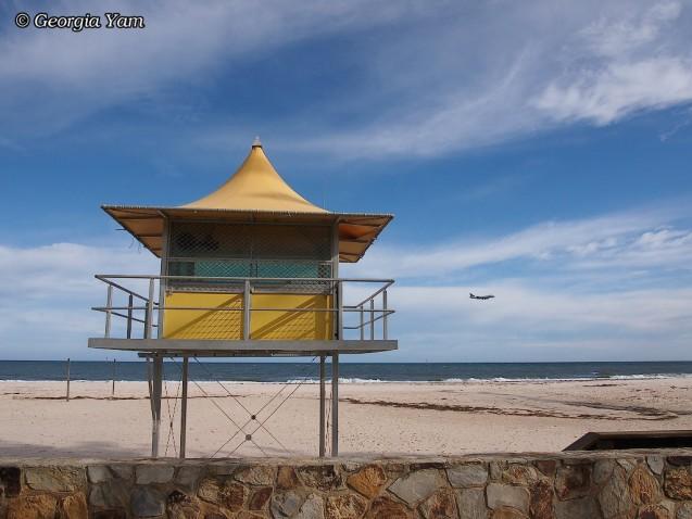 beach hut and aeroplane