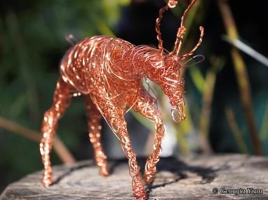 copper wire deer sculpture