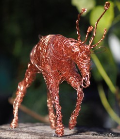 copper wire deer sculpture