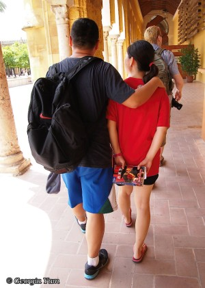 tourist couple from the back